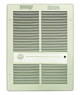 TPI H3317TRP Series 3310 Fan Forced Wall Heater with in-Built Single Pole Thermostat, Without Summer Fan Switch, 16380 Max BTU's, 20 Amps, Ivory