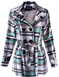 Double Breasted Plaid Wool Trench Coat Peacoat Mint L Size
