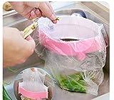 Strong Sucker Garbage Bag Holder Kitchen Sink Clip-on Trash Storage Rack by AdvancedShop (Pink)