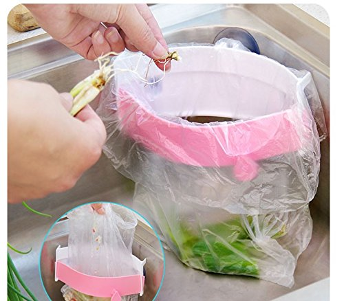 Strong Sucker Garbage Bag Holder Kitchen Sink Clip-on Trash Storage Rack by AdvancedShop (Pink) by AdvancedShop