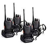 Proster Walkie Talkies Rechargeable 16 Channel 2-Way Radios CTCSS DCS with Original Earpiece and USB Charger 2 Pair