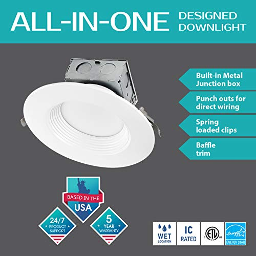 LUXTER (12 Pack) 6 inch LED Ceiling Recessed Downlight With Junction Box, LED Canless Downlight, Baffle Trim, Dimmable, IC Rated, 15W(120Watt Repl) 4000K 1100Lm Wet Location ETL and Energy Star Listed by Luxter (Image #2)