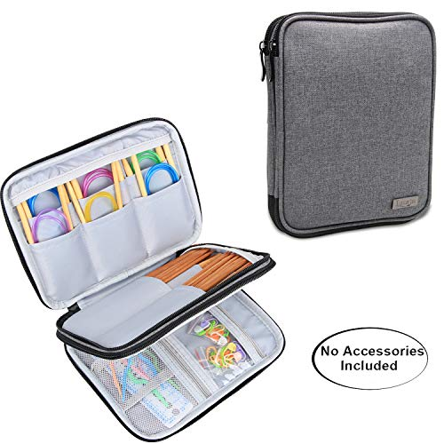 Luxja Knitting Needles Case(up to 8 Inches), Travel Organizer Storage Bag for Circular Needles, 8 Inches Knitting Needles and Other Accessories(NO Accessories Included), Gray