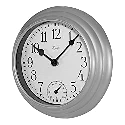 Equity by La Crosse 8 inch Silvertone Plastic Indoor/Outdoor Thermometer Wall Clock