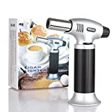 Ubitking Butane Torch, Kitchen Camping Blow Torch, Windproof Flame Torch, Refillable Adjustable butane Lighter with Safety Lock 1300°C for Hiking, Cooking, BBQ and Baking (Butane Gas Not Included)