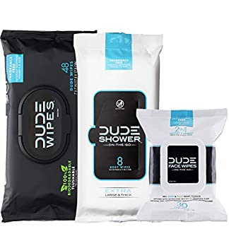 DUDE Wipes Flushable (48ct), DUDE Shower Body Wipes (8ct), & DUDE Face Wipes (30ct) Head to Toe DUDE Combo