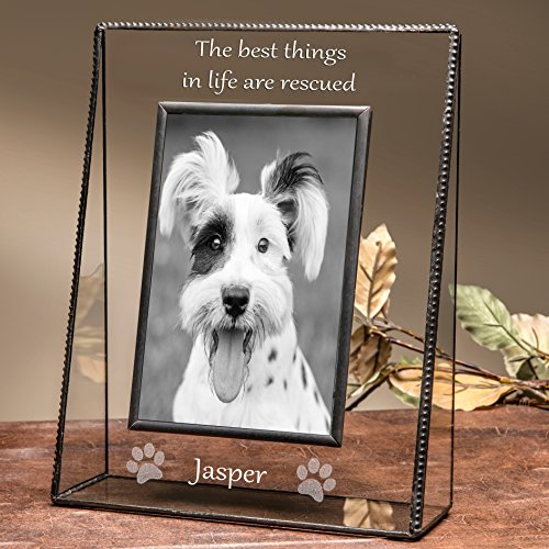 J Devlin Pic 319-46V EP594 Personalized Dog Picture Frame 4x6 Vertical Engraved Pet Photo New Dog Owner (Dog Personalized Frame Photo)