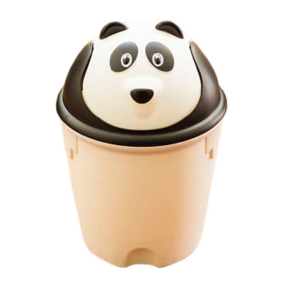 Kylin Express Creative Household Trash Can FlipType Wastebasket Round Storage Bucket Panda