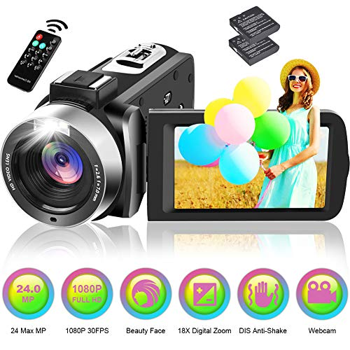 Camcorder Video Camera Full HD 1080P 30FPS 24.0MP 18X Digital Zoom Vlogging Camera for YouTube with 270 Degree Rotation 3 Inch Screen and 2 Batteries