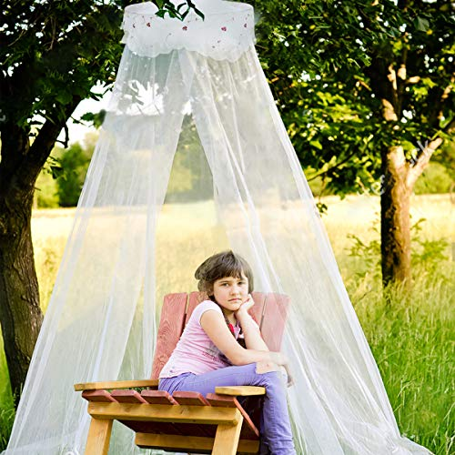 (Jeteven Girl Bed Canopy Lace Mosquito Net for Girls Bed, Princess Play Tent Reading Nook Round Lace Dome Curtains Baby Kids Games)