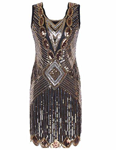 Harlem Renaissance Dresses (KAYAMIYA Women's 1920S Sequined Beaded Back Deep V Gatsby Occasion Dress M Luxury Gold)