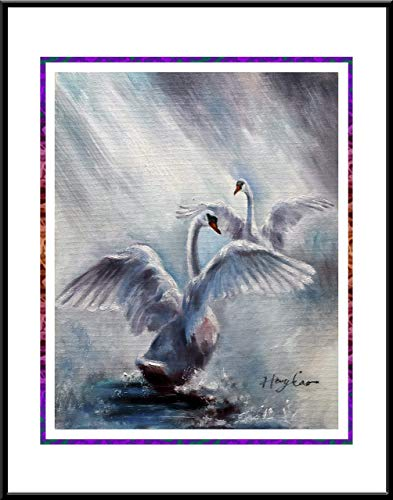 - Swan Dancing, oil painting Print 16 x 20