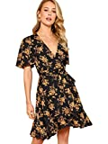 Milumia Women V Neck Wrap Belted Floral Print Summer Short Dress Multicolor-Black-3 M