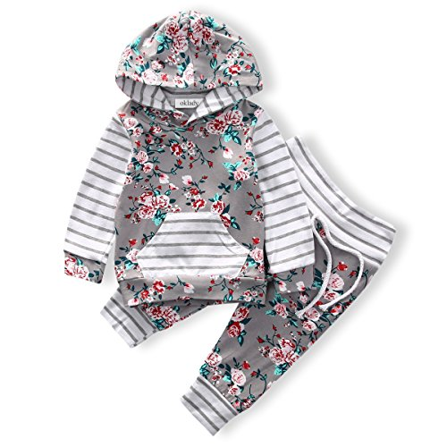 Baby Casual Pants - Baby Girls Long Sleeve Flowers Hoodie Print Hoodies with Pocket Tops + Striped Pants Outfit Clothing Sets(12-18M)