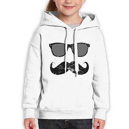 Vintopia Boys Incognito Boy - Funny Mustache and Sunglasses Fashion Climbing White Hoody - Sunglasses Okc