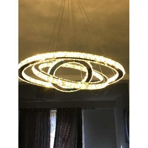 Siljoy Three Rings (15.7 - 23.6 - 31.5 Inches) Clear K9 Crystal Chandelier Ceiling Light Fixture