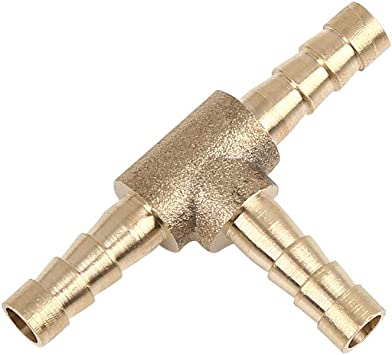 X AUTOHAUX 8mm Hose Barb Brass Joiner Tee 3 Way Adaptor for Air Water Oil 5pcs