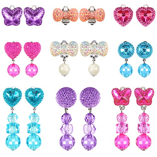 Hicarer 9 Pairs Girls Clip-on Earrings Pretend Princess Play Earrings Jewelry Set (Style -