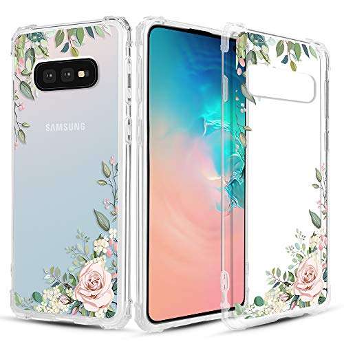 Caka Clear Case for Galaxy S10e Clear Floral Case Flower Pattern Floral Series Slim Girly Anti Scratch Excellent Grip Premium Clarity TPU Crystal Case for Samsung Galaxy S10e (Light Green)