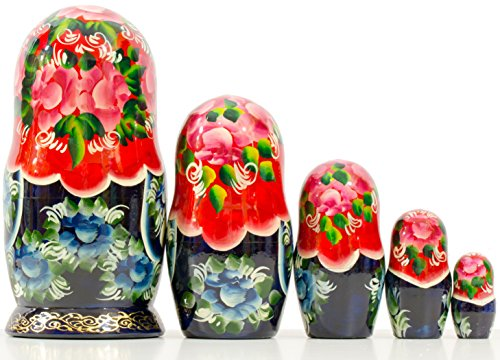 Russian Nesting Doll - Village Scenes - Hand Painted in Russia - 5 Color/Size Variations - Traditional Matryoshka Babushka (6.75``(5 Dolls in 1), Scene I) by craftsfromrussia (Image #3)