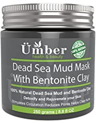Dead Sea Mud Mask with Bentonite Clay Mineral-rich 100% Natural Mud – Detoxify, Reduce Pores, Fights Acne & Improve Circulation with Jojoba Oil & Shea Butter by Umber NYC (8.8 OZ)