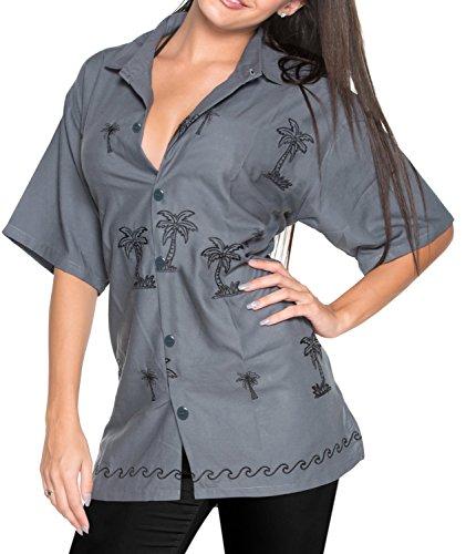 LA LEELA Rayon Collar Plus Size Girls Top Shirt Grey|XXL - US 44 - ()