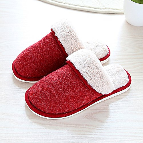 Womens Size Slippers Anddyam Slip Women's Slippers Anti Knitted House for 8 Indoor Cozy Red Home 7Pw7R