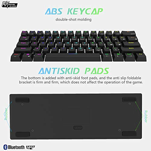 RK ROYAL KLUDGE 61 Gaming Mechanical Keyboard, 61 Key RGB LED Backlight USB Cable/Bluetooth Wireless 60% Keyboard-Red Switch.