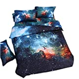 zhENfu 3D Reactive Stars Bedding Sets 4 Pcs for Queen Size Contain 1 Duvet Cover 1 Bedsheet 2 Pillowcases from China,Twin,Black