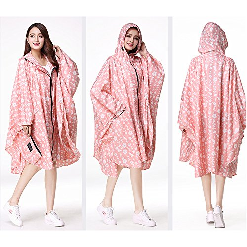 Zipper Vent Cyclisme Fleur Impermable Grande Cape Coupe Clair Rose Manteau Poncho Mince Lumire Impermable Secutey Taille gqY60Twwx