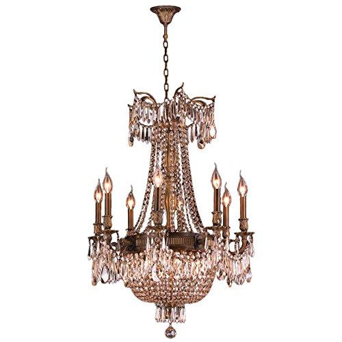 Worldwide Lighting Winchester Collection 12 Light Antique Bronze Finish and Golden Teak Crystal Chandelier 24