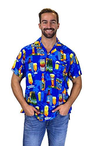 Funky Hawaiian Shirt, Beerbottle, blue, - Hawaiian Beer