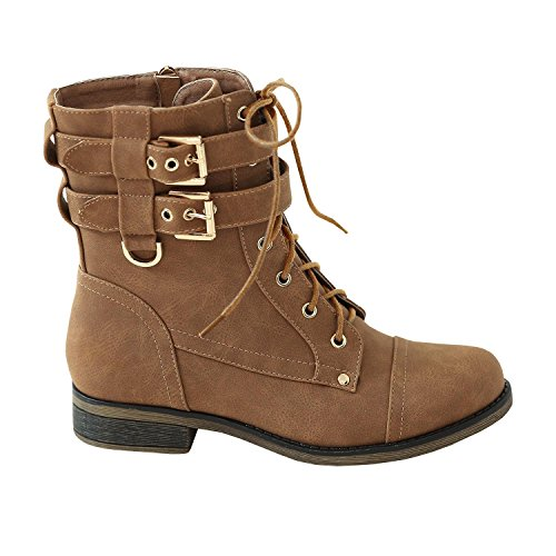 Syktkmx Womens Work Military Combat Martin Boots Lace up Buckle Strap Ankle Booties - stylishcombatboots.com
