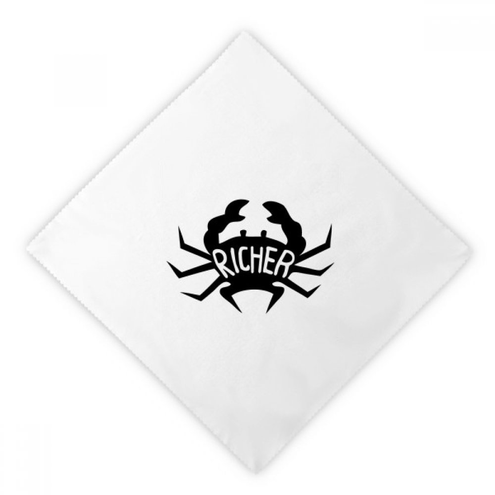 DIYthinker Black Crab Animal Silhouette Natural Dinner Napkins Lunch White Reusable Cloth 2pcs