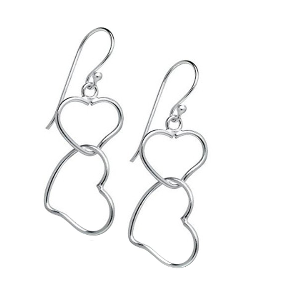 LALANG Sterling Silver Double Heart Dangle Earrings Clasp for Women