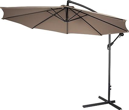 4c4b90ddb730 Belleze Patio Umbrella 10 Ft Offset Cantilever Umbrella Outdoor Market  Hanging Umbrellas and Crank w. Cross Base, (Beige)