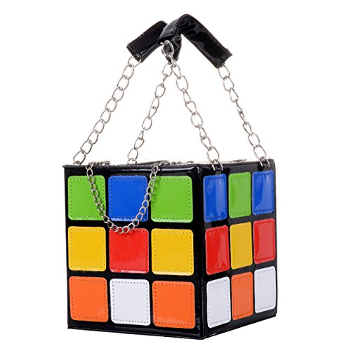 QZUnique Women's Cute Rubik's Cube Handbag Magic Cute Shape Shoulder Bag Clutch (Shape Handbag Purse Bag)