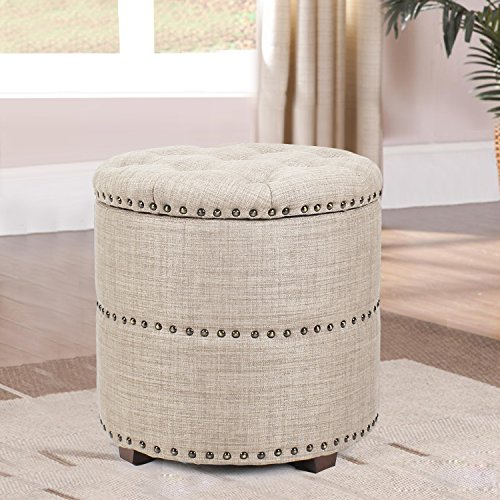 Edeco Modern Round Storage Ottoman Foot Stool Comfortable Seat with Nailhead Trim, Beige