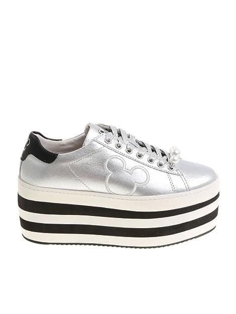 MOA - Zapatillas para Mujer Plateado Plata IT - Marke Größe, Color Plateado, Talla 40 EU: Amazon.es: Zapatos y complementos