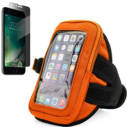 VanGoddy Sweatproof Zippered Orange Workout Armband with Tempered Glass Privacy Screen Protector for Apple iPhone 8 & iPhone 7