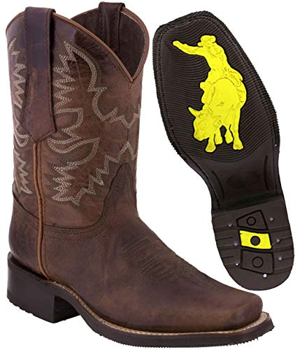 (Texas Legacy - Men's Chedron Leather Western Cowboy Boots Rubber Sole Square Toe 10.5 E US)