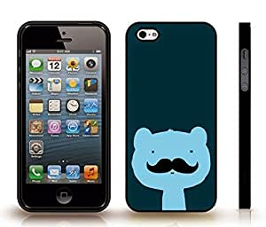 iStar Cases? iPhone 4 Case with Mustache Bear, Cute Animated Bear with Mustache Design , Snap-on Cover, Hard Carrying Case (Black) by ruishername