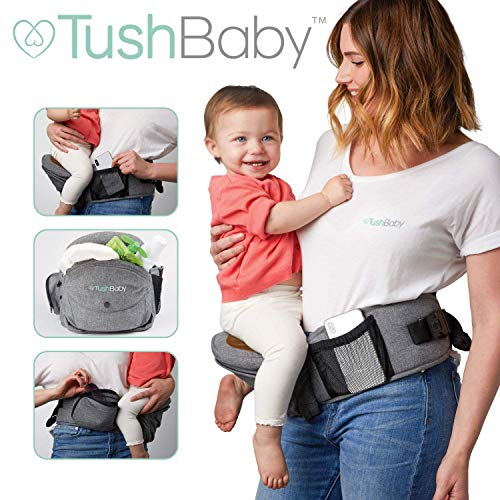 TushBaby The Only Safety Certified Hip Seat Baby Carrier – As Seen On Shark Tank – Adjustable, Machine Washable, Ergonomic Child + Infant + Toddler Carrier,Safe Ultra-Comfortable Waist Carrier Grey