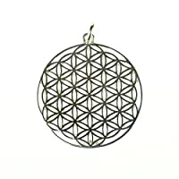 925 Sterling Silver Flower of Life Pattern Front and Back Pendant