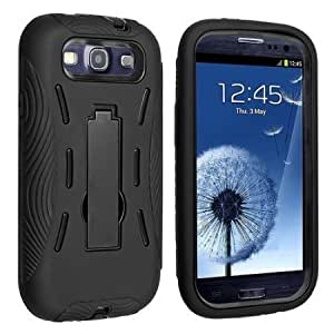 Quaroth - New Black and Black Kickstand Hybrid Case Hard Gel Cover w/ Stand for Samsung Galaxy S3 I9300, I747 (Verizon,...