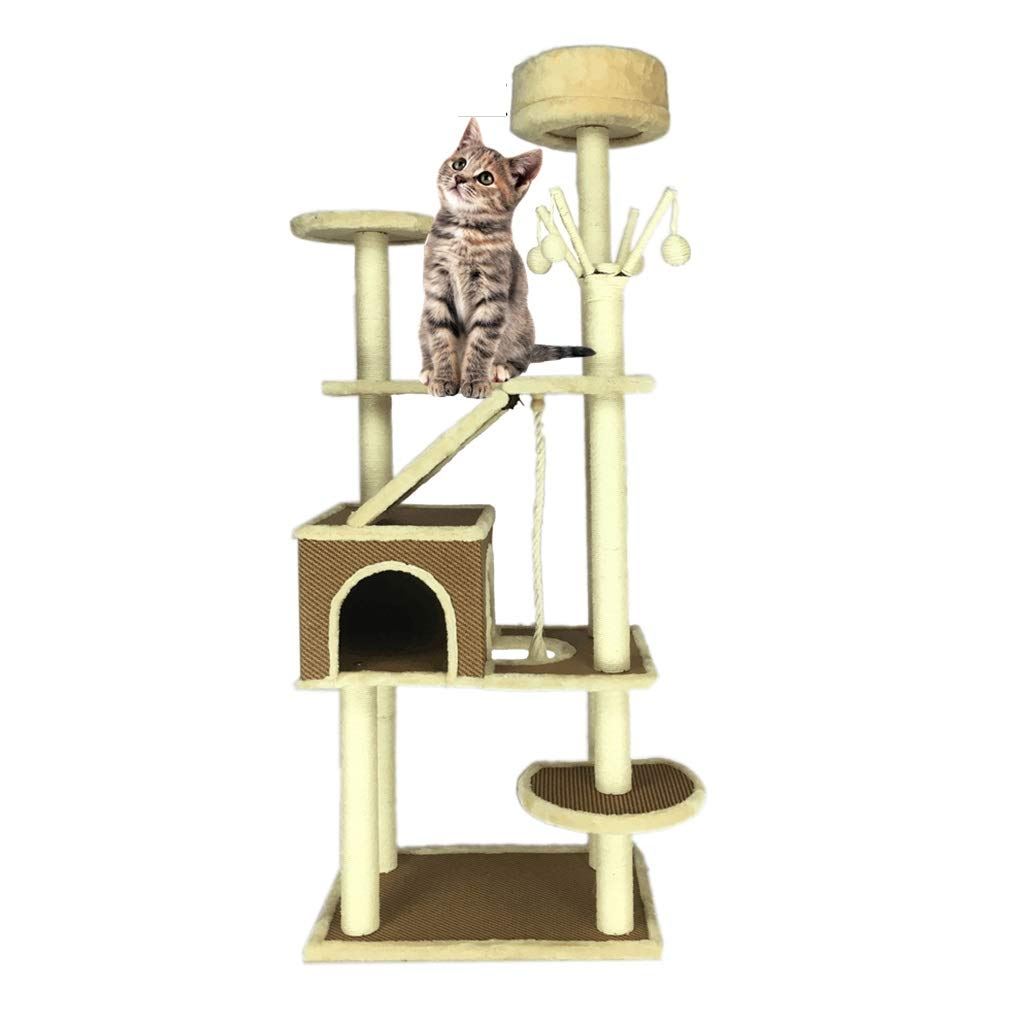 Brown 6040185cm Brown 6040185cm BEDS Dogs Furniture Cat Tree Apartment Cat Climbing Center Game Room Sisal Cat Tower Cat Tree Room (color   Brown, Size   60  40  185cm)