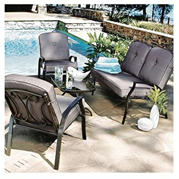Nice Courtyard Creations SFS458F 4 Piece Nassau Collection Cushion Deep Seating  Set
