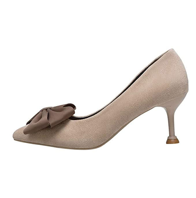 96d0ad0e67175 Amazon.com: Women Vintage Leather Pointy Closed Toe High Heel Bow ...
