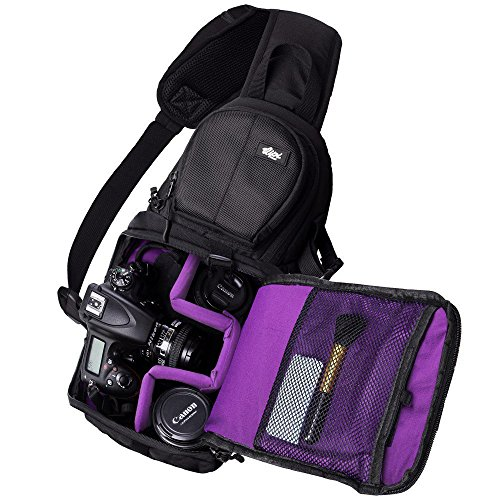 Digital Camera Backpack Bag - Qipi Camera Bag - Sling Style Camera Backpack with Padded Crossbody Strap - for DSLR & Mirrorless Cameras (Nikon, Canon, Sony) - Black