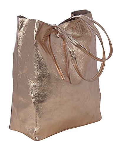 Rosa Artigianale Italy Pelle Shopper Borse Tote Lavorazione Made Donna Vera Ambra metallico In PaqOn